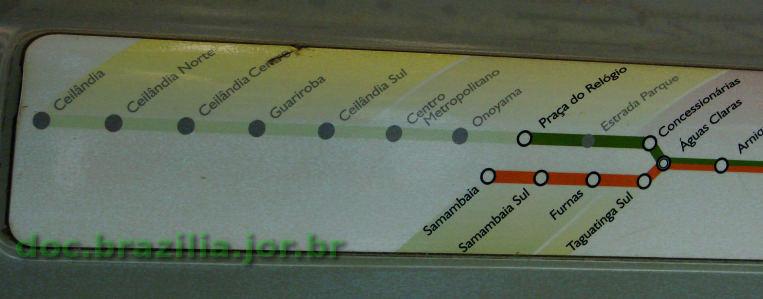 f988c6eb56546 Esquema das estações do Metrô de Brasília, de Águas Claras até Ceilândia e  Samambaia,