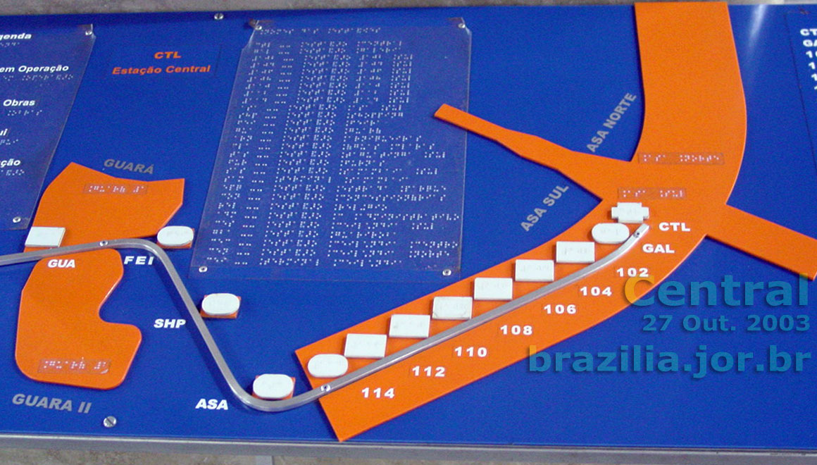 Estao Central do Metr de Braslia bloqueio e plataforma dos trens