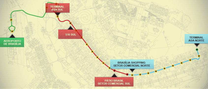 Mapa Oficial Dos Trilhos Do Vlt Brasília Veículo Leve Sobre Trilhos