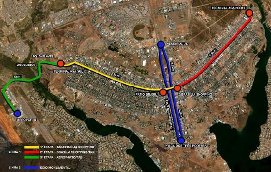 Mapa oficial dos trilhos do VLT Braslia  Veculo Leve sobre Trilhos