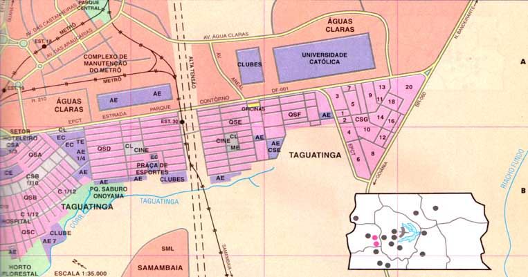 O Metr de Braslia no mapa de Taguatinga Sul